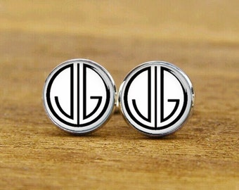 custom initials cufflinks, 1920s fonts cuff links, 1920s film style cufflinks, square cufflink, tie clips, groomsman wedding cufflinks
