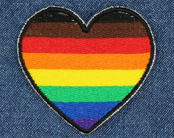 "Heart PoC Gay Pride Patch –2.25"" x 2"" New PoC Pride Flag Patch – New Gay Pride Patch – LGBT Patch – Queer Patch – LGBT Gifts –Gifts Under 10"