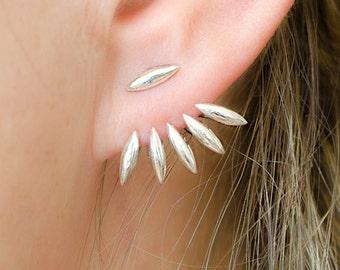 Silver Drops Ear Jackets, Spiky Earjackets, Jacket Earrings, Silver Stud Earrings, Modern Edgy Jewelry, Edgy Gift, Lunaijewelry, EJK003