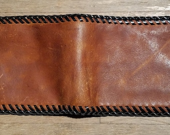 Brown Oiled Leather Wallet, Handmade, Steampunk, Vintage Style