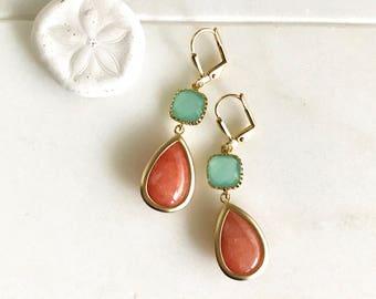 Burnt Orange Teardrop and Turquoise Stone Dangle Earrings. Fall Fashion Earrings. Tangerine Orange Earrings. Christmas Gift. Holiday Gift.