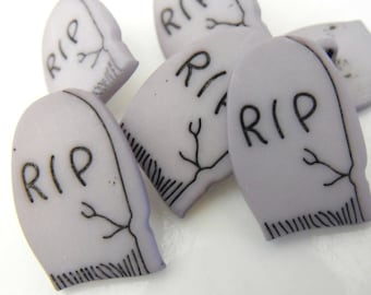 6 RIP Headstone Shank Buttons