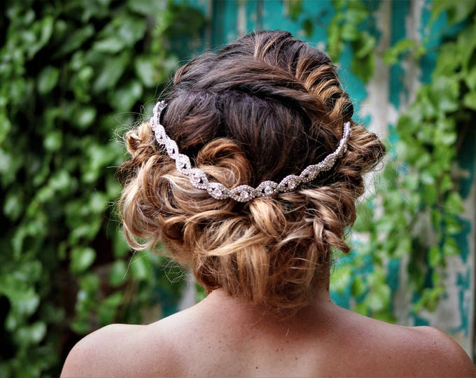 Silver Wedding Headband, Bridal Headpiece, Rhinestone Headband, Hair Tiara, Hair Jewelry, Bridesmaid, Hair Accessory B19S