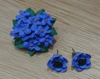 Vintage purple violets brooch and earrings