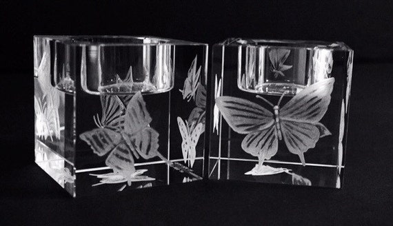 Hand Engraved crystal Candleholder, Butterflies, home decor, etched, handengraved, candlesticks,office decor, crystal gift, housewarming