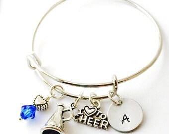 Cheerleader Bracelet, Child Adjustable Bangle Bracelet, Cheer Bracelet, Personalized Initial Bracelet, Little Girls Bracelet, Young Gi