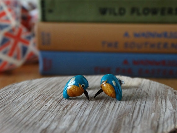 By The Shed Kingfisher Bird Earrings Garden Bird Gardening