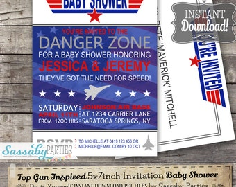 Top Gun Inspired  Baby Shower Fighter Jet Pilot Invitation - INSTANT DOWNLOAD -  partially Editable & Printable Invite by Sassaby Parties