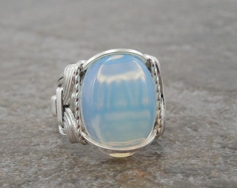 Sterling Silver Opalite Cabochon Wire Wrapped Ring
