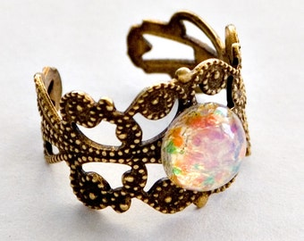 Harlequin Art Glass Opal Filigree Ring, Opal Ring, Simulated Opal, Vintage Glass Opal Ring, Gift for her, Ten Dollar Gift, SRAJD, Flat Rate