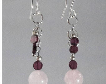 Rose Quartz and Garnet handcrafted earrings