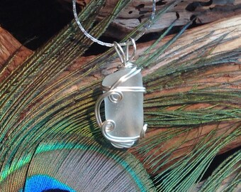 Sea Glass Necklace Frosted White