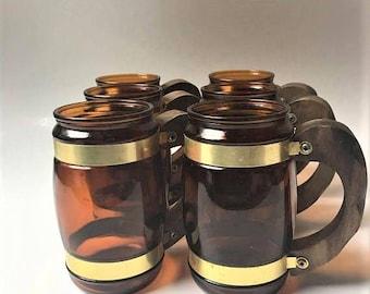 Siesta Ware Beer Stein, Siesta Ware Iced Tea Glasses or Mugs, 70s Brown Barrel Barware, Set of 6 Mid Century Western Brown Glass Mugs