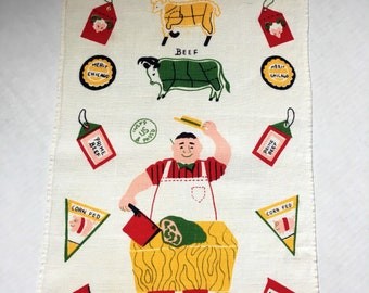 Vintage Butchers cut tea towel