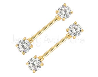 14G Nipple Barbell, Round/Heart Nipple Ring, Prong-set Heart CZ, Nipple Piercing Jewelry, 316L Surgical Steel Nipple Barbells CZ Accented