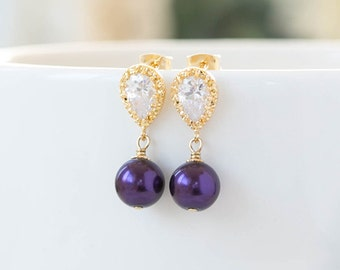 Gold and Purple Post Earrings Purple Wedding Bridal Jewelry Bridesmaid Gift Gold Plated Cubic Zirconia Purple Pearl Dangle Earrings