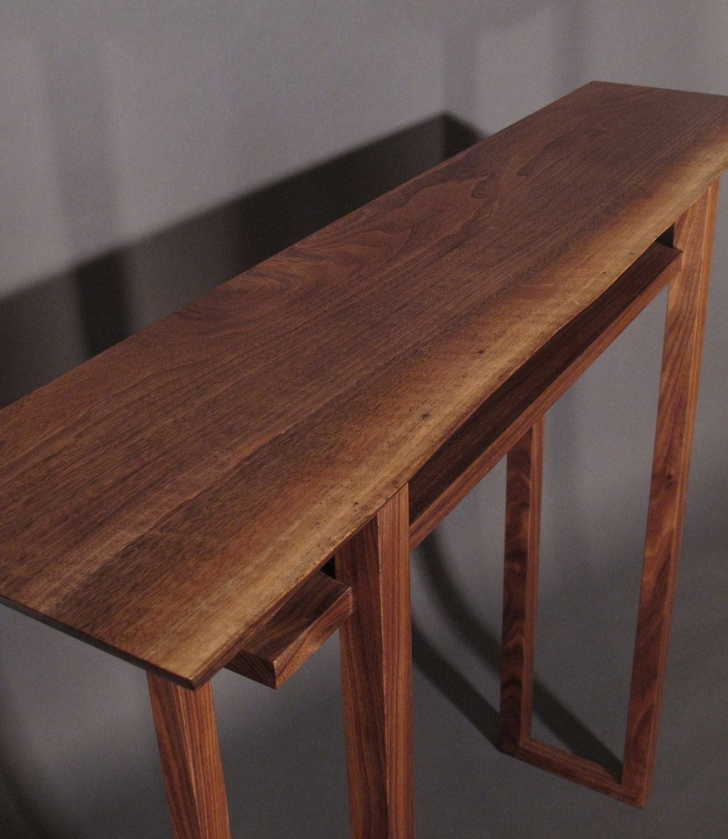 Live Edge Hall Table Handmade Wood Furniture for Narrow Hall