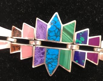 VINTAGE/Handcrafted, MEXICAN MADE Design Bracelet, 1970s/Silver/Gemstone