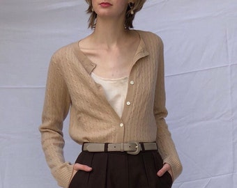 cashmere button front sweater / cashmere cardigan / camel cable knit sweater / vintage cashmere sweater | s m