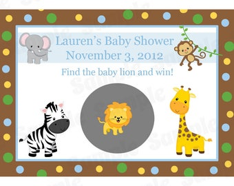 60 Personalized Baby Shower Scratch Off Game Cards -  Zoo Animals