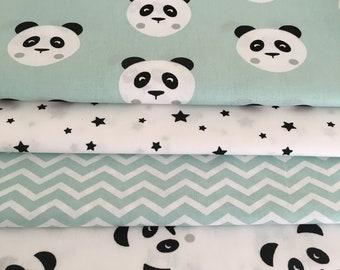 Monochrome & Mint Panda fabric Collection - Fat Quarter Bundle - New