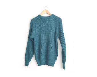 Size M // KNIT SWEATER // Blue-Green - Acrylic-Wool Blend - Jumper - Pullover - Grunge - Preppy - Vintage '90s.