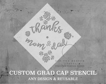 Graduation Cap Custom STENCILS | Laser Cut || Create Your Own || 2 Sizes || Grad Cap Decorations