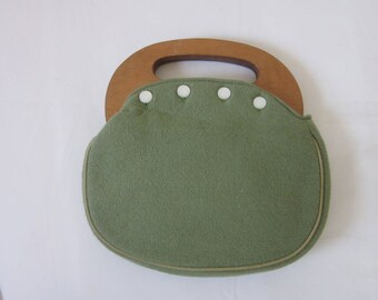 1960s Moss Green Fabric Handbag with Wood Handles
