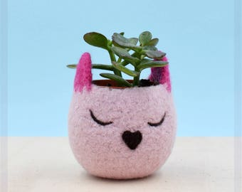 Valentine gift for her, mini succulent pot, plant lady gift, Cactus planter, 7 year Anniversary, Cat lover gift for women, Pink Cat planter
