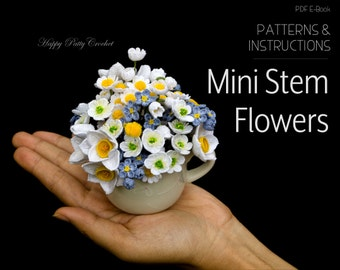 Crochet Flowers Patterns Pack - Mini Stem Flowers Crochet Patterns - Miniature Daffodil Crochet  Flower Pattern - Forget me not Patterns