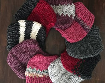 Messy Bun Hat, Handknit Ponytail Hat