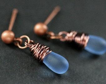 COPPER Earrings - Clouded Blue Teardrop Earrings. Dangle Earrings. Stud Post Earrings. Handmade Jewelry.