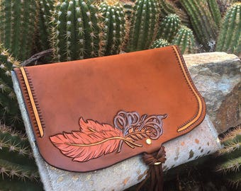 Copper feather clutch