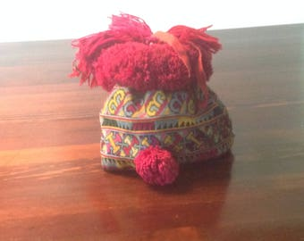 Vintage Laotian Embroidered Baby Girl Hat from Mien/Yao Minority Group