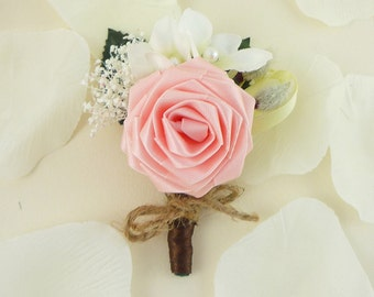 Pink Rose Boutonniere - Spring Blossom, Rustic Wedding Boutonniere, Stephanotis boutonniere, Origami Boutonniere, Elegant Boutonniere