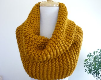 Chunky Knit Cowl Over Size Super Snuggly Cowl Chunky Snood in Wool Blend - Butterscotch -  Ready to Ship Direct Checkout Gift for Her