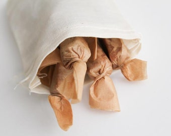 Salted Caramels, Galentines Gift, Valentines Day- Handmade Fleur de Sel Caramels 1/4 lb in Eco Reusable Muslin Bag