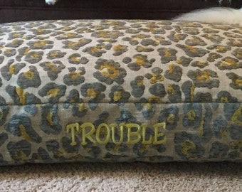 Leopard Dog Bed * Animal Print * Medium Large * Chenille * Personalized with Pups Name * Custom Dog Bed Pillow Cover * TSD
