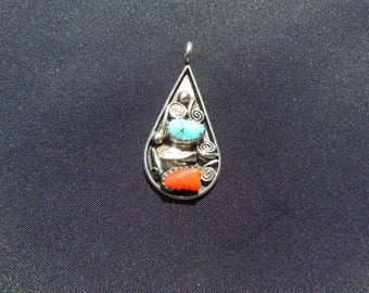 Vintage Pendant Native American Sterling Tear Drop Shape Turquoise&Coral by  M.Bennet