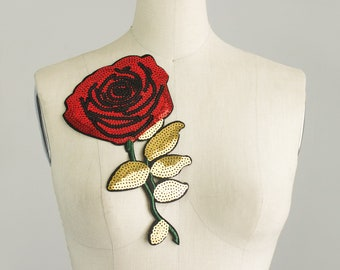 NEW ITEM! Extra Large Red SEQUIN Rose Large Iron On Patch Applique / Embroidered Patches / Jeans / Jacket / Gold Leaves / Costume / Flower