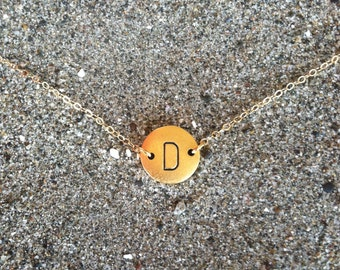 Monogram Necklace, Initial Necklace, Matte gold