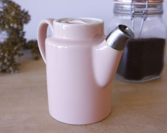 Vintage 'Hall' China Restaurant Ware // Teapot with Chrome Spout // Personal Coffee Pot // Diner Ware // Pastel Pink