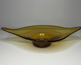 vintage handblown yellow glass dish