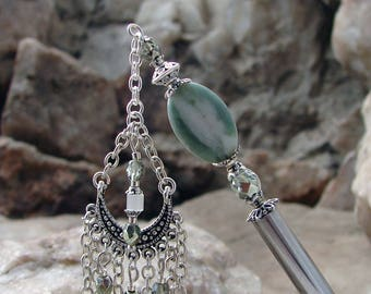 Green Stone Geisha Dangle Hair Stick with Czech Eggshell and Light Green Glass Hairstick Silver Haarstab Stone Hair Pin - Annorah 2870