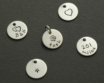 "Add a Charm - 1/2"" tiny sterling silver round disc - half inch"
