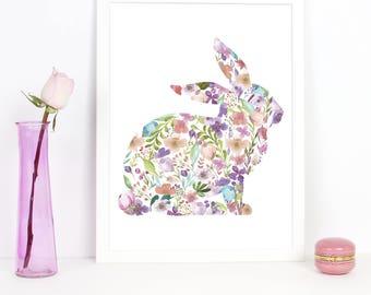 Nursery Art, Flowery Bunny, Nursery Decor, Kids Wall Art, Baby Girl Nursery, Playroom Decor,Printable Wall Art,Childrens Art Prints,Wall Art