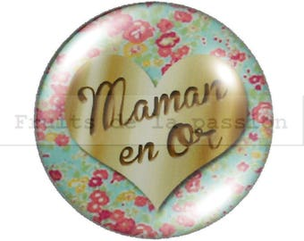 1 cabochon 25mm round glass gold MOM, mothers day.