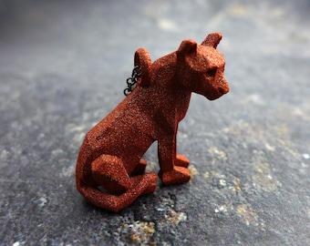 Geometric Cougar Pendant - Polygonal Animal Jewelry - Cat Jewelry - 3D printed animal - Nature Jewelry - Origami Puma- Mountain Lion Pendant