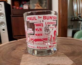 Alpena, MI Paul Bunyan Lookout Rocks Glass