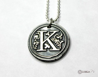Initial Jewelry Personalized Necklace Letter Charm Mom Jewelry Custom Gift  Gift  Monogram Wax Seal Pendant  Personalized Gift